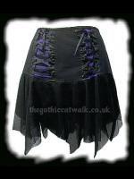 Black & Purple Striped Gothic Punk Skirt