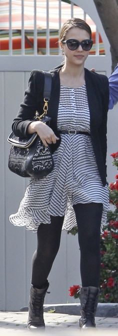 Who made  Jessica Alba's lace purse, stripe dress and black boots that she wore in Santa Monica on March 18, 2011?