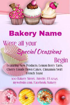 Bakery Shop Names, Bakery Business, Business Flyers, Business Cards, Bake Sale Flyer, Bakery Website, Coffee Shop Logo, Berry Tart, Restaurant Flyer
