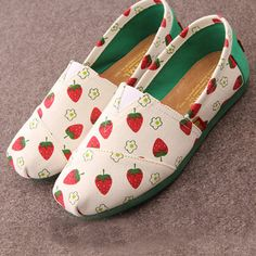 Sweet Pastorale Style Floral Strawberry Print Canvas Loafers from joyprettye