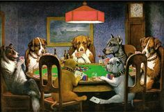 Dogs Playing Poker painted by Cassius Marcellus Coolidge. I chose this painting because the idea of dogs playing poker is funny Most Famous Paintings, Dog Paintings, Famous Artists, Classic Paintings, Famous Art Pieces, Famous Artwork, Home Wall Art, Wall Art Decor, Pet Decor