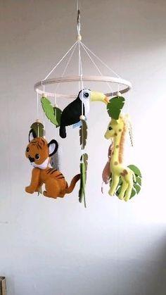 Safari baby mobile / Safari nursery decor /Jungle animals mobile/Baby mobile with elephant, lion, tiger and giraffe Baby Crib Diy, Baby Crib Mobile, Baby Cribs, Baby Room Design, Baby Room Decor, Nursery Decor, Baby Boy Rooms, Baby Bedroom, Elephant Mobile