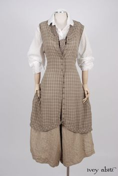 Ivey Abitz 2017 Spring Look - Truitt Shirt in Dove Striped Voile - Truitt Frock in Flaxseed Plaid Weave - Holkham Hall Necktie in Flaxseed Leafy Silk Linen - Montague Trousers in Sandy Pinstriped Linen, High Water Length Cute Dress Outfits, Cute Dresses, Cool Outfits, Mode Alternative, Alternative Fashion, Bespoke Clothing, Vintage Outfits, Vintage Fashion, Techniques Couture
