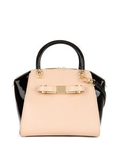 Ted baker tote babe with bow Black and taupe (looks like blush but is actually taupe)