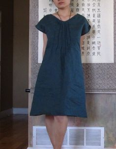 eco linen seashell pleats dress custom by annyschooecoclothing