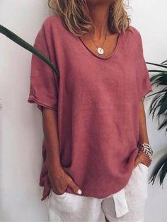 77f3153305b8b2 Shop T-Shirts - Plus Size V Neck Pure Color Summer Simple T-Shirts online.  Discover unique designers fashion at justfashionnow.com.