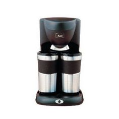 Brews directly into one mug or two travel mugs Two 14 oz. stainless steel travel mugs with ruber grips that fit most standard car cup holders; Uses paper cone filters Auto shut off after brewing 2 Cup Coffee Maker, Coffee Maker Reviews, Travel Mug Coffee, Coffee Mugs, Travel Mugs, Melitta Coffee Maker, Wine Decanter Set, Electric Wine Opener, Espresso Coffee Machine