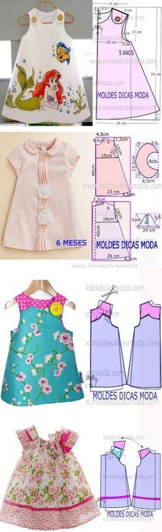 New moda infantil baby vestidos Ideas Little Dresses, Little Girl Dresses, Girls Dresses, Infant Dresses, Dresses Dresses, Fashion Kids, Fashion Sewing, Dress Anak, Baby Dress Patterns