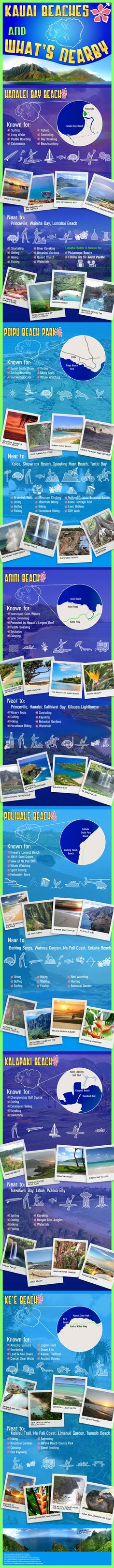 Kauai Beaches and What's Nearby Infographic - Pictures Worth 1000 Words from HomeAway Travel Ideas