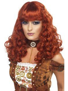 Steampunk, naisten peruukki. Tällä punaruskealla, pitkähiuksisella peruukilla täydennät steampunk-henkiset naisten naamiaisasut.