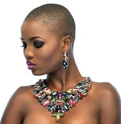 From jewelry brand Le Reve Pieces, owned by Jennifer Olize, we present this bold & vibrant collection for With pieces for the demure diva to the loud & Big Chop, Dark Skin Beauty, Hair Beauty, Short Hair Cuts, Short Hair Styles, Bald Head Women, Short Afro, Bald Girl, Coloured Girls