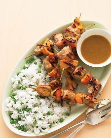 Pan-Grilled Pork Kebabs- or serve pork tenderloin with honey-mustard dipping sauce