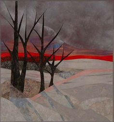 Art quilt landscape by Ruth Powers. Fiber Art And Quilt Art Workshop: Designing and Sewing for Picture Piecing. April 12 - 2015 Kind of an ominous feel to this one Quilt Art, Tree Quilt, Art Quilting, Machine Quilting, Houston Quilt Show, Landscape Art Quilts, International Quilt Festival, Art Textile, Contemporary Quilts