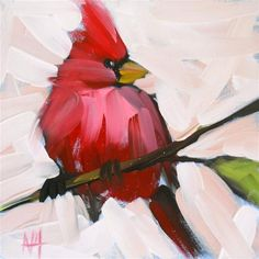 """Daily+Paintworks+-+""""cardinal+on+branch+no.+12""""+-+Original+Fine+Art+for+Sale+-+©+Angela+Moulton"""