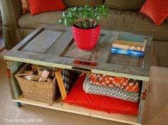 DIY Old wood door - recycled into a coffee table. Don't care if it gets nicks/beat up....it's alreadybanged up...love it!!!