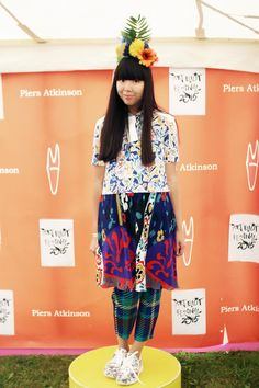 Susie Bubble wearing Risto shirt, vintage dress, Issey Miyake Pleats Please trousers, Nike trainers #susielau #stylebubble
