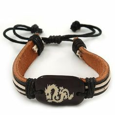 "Unisex Dark Brown Leather 'Dragon' Friendship Bracelet - Adjustable Avalaya. $6.30. Theme: dragon; Wear On: wrist; Length: 17.0cm (6.69""); Material: leather; Occasion: casual wear"