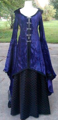 blue and back dress
