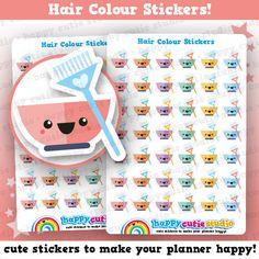 42 Cute Hair Colour/Dye/Reminder Planner Stickers, Filofax, Erin Condren, Happy Planner,  Kawaii, Cute Sticker, UK