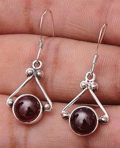 """Garnet .925 Sterling Silver Jewelry Earrings 1.2"""" #SterlingSilver  #SilverJewelry"""