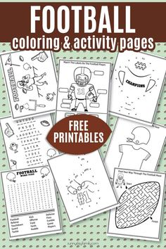 Free Printable Football Coloring Pages & Activities for Big Game Fun FREE Football Activity Pack for kids! Super cute football coloring pages, football word puzzles, football maze, football dot to dot and more. 8 total sports coloring pages that your kids Super Bowl Activities, Sports Activities For Kids, Party Activities, Counseling Activities, Kids Sports Crafts, Halloween Activities, Camping Activities, Kids Crafts, Football Coloring Pages