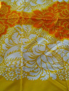 "Vintage Marimekko Yellow Orange Floral Cotton Fabric 1 yd Finland ""Ananas"" 1963 