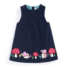 Loving this JoJo Maman Bébé Navy Mouse Appliqué Pinafore Dress - Infant, Toddler & Girls onMischievous mice add playful panache to this timeless dress, and pure cotton coddles your princess with skin-pampering comfort. Girls Dresses Sewing, Frocks For Girls, Toddler Girl Dresses, Little Girl Dresses, Dress Sewing, Sewing Coat, Baby Dress Patterns, Skirt Patterns, Coat Patterns