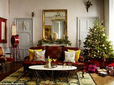 Christmas, château style: How Escape to the Château's Dick and Angel deck the halls - YOU Magazine Angel Adoree, Copper Side Table, Angel Strawbridge, Christmas Dining Table, Christmas Interiors, Deck The Halls, Beautiful Homes, New Homes, Table Decorations