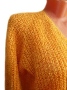 Купить Пуловер вязаный Джемпер вязаный Свитер вязаный унисекс из кидмохера - желтый, однотонный