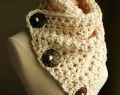 The Original BOSTON HARBOR SCARF - Warm, soft & stylish scarf with 3 large dark brown coconut buttons - Cream with Brown or Tan Buttons