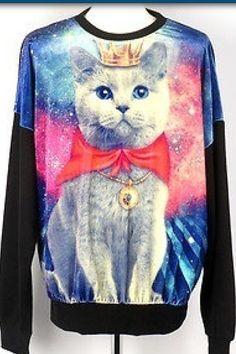 korea pop Galaxy cat t shirts stellar printed velvet shirt long sleeve top Galaxy T Shirt, Galaxy Cat, Galaxy Print, Crazy Cat Lady, Crazy Cats, Ugly Cat, Cat Sweaters, Ugly Sweater, Cat Shirts