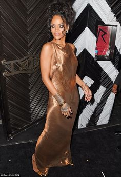 Grecian feel: Rihanna's dress looked like a piece of fabric which was simply draped around her neck