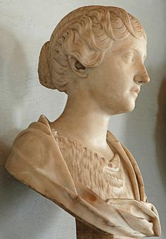 Faustina the Younger (- profile), daughter of Empress Faustina the Elder and Emperor Antoninus Pius, wife and cousin of Emperor Marcus Aurelius, Roman bust (marble), 2nd century AD, (Palazzo Nuovo, Rome).