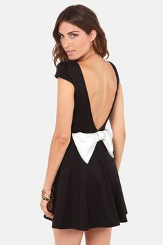Flare-est of Them All Backless Black Dress at LuLus.com!