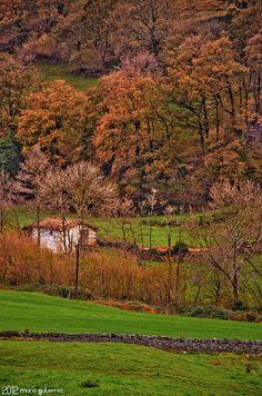 Hidden Cabana. Vega de Pas, Cantabria, Spain. Costa, Cottage Homes, Cabana, Golf Courses, Beautiful Pictures, Country Roads, Journey, Rustic, Fall