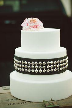 Wedding cake with fondant flower and studs   Chantel Marie Photography   see more on: http://burnettsboards.com/2014/06/edgy-femininity-black-blush-wedding/ #alternative #cake #weddingcake
