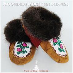 #Moosehide #moccasin slippers made by #Tlicho elder Rosa Wedzin of #Behchoko. #livingtradition #livingculture #livingart