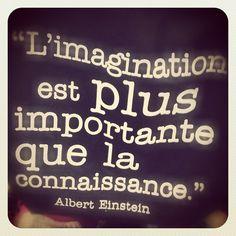 """Citation du Jour """"imagination is more important than knowledge"""""""
