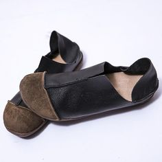 Fashionable Leather Retro Splicing Black Women Single Shoes – Buykud