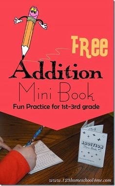 Addition Mini Book - This is such a FUN, clever idea! Kids cut and fold to make this pocket size addition book. Kids will fill in the answers to get practice and then can use it as a convenient reference. Great FREE printable math worksheets for kindergarten 1st grade 2nd grade