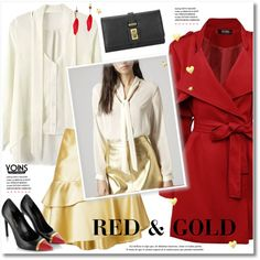 How To Wear Red & Gold Outfit Idea 2017 - Fashion Trends Ready To Wear For Plus Size, Curvy Women Over 20, 30, 40, 50