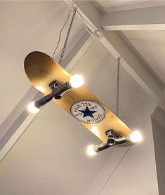 Custom made/painted skateboard light Woodworking Tools For Beginners, Wood Working For Beginners, Popular Woodworking, Woodworking Furniture, Diy Woodworking, Woodworking Projects Plans, Woodworking Chisels, Woodworking Techniques, Woodworking Classes