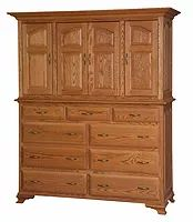Crown Villa Mule Chest|Oak in Seely OCS104|66 1/2in W x 23 1/2in D x 80in H|The Amish Home|Hardwood Furniture at the Pittsburgh Mills