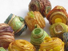 20 mixed media textile art beads hand made by CAROLYNSAXBYTEXTILES