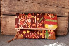 Foldover Clutch in Silk IKAT print & Leather