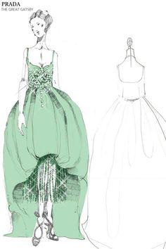Miuccia Prada y el vestuario de The Great Gatsby stylingtekening, ontwerptekening