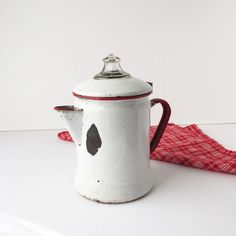 Vintage Red and White Enamel Coffee Pot, 1940s Enamelware Percolator... ($28) ❤ liked on Polyvore featuring home, kitchen & dining, serveware, pyrex, enamel coffee pot and pyrex coffee pot