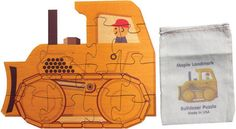 """Our Bulldozer puzzle has 12 large interlocking pieces cut from 1/8"""" hardwood plywood. Each puzzle measures about 11"""" high and 12"""" long."""
