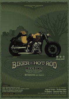 biker and hot rod  moto  vintage  speedway  poster  motocycle Aquarelles, 240c475e817