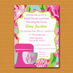 SALE Lilly Pulitzer Inspired Bridal Shower by DestinationInvite